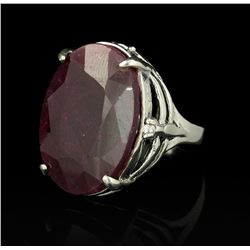 SILVER 25.36 ctw Corundum and Topaz Ring