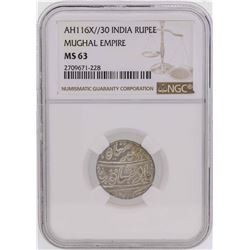 AH116X//30 India Rupee Mughal Empire Coin NGC MS63