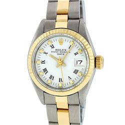 Rolex Two-Tone White Roman Yellow Gold Fluted Oyster Band DateJust Ladies Watch