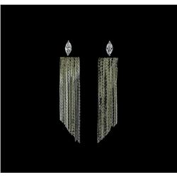 Dangle Crystal Teardrop Earrings - Rhodium Plated