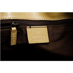 Gucci Brown Green Canvas Leather Monogram Tote Bag