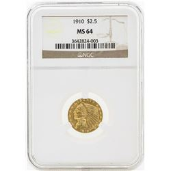 1910 $2 1/2 Indian Head Quarter Eagle Gold Coin NGC MS64