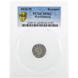 1834 Kreuzer Wurttemberg Coin PCGS MS62