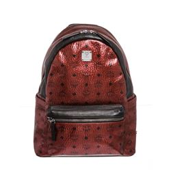 MCM Metallic Burgundy Visetos Coated Canvas Leather Trim Stark Medium Backpack