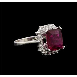 14KT White Gold 3.20 ctw Pink Tourmaline and Diamond Ring
