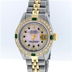 Rolex Two-Tone Pink MOP Sapphire and Emerald Diamond DateJust Ladies Watch