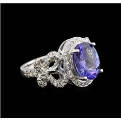 3.51 ctw Tanzanite and Diamond Ring - 14KT White Gold