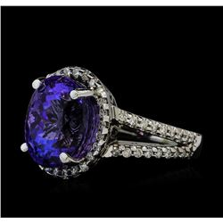 8.24 ctw Tanzanite and Diamond Ring - 14KT White Gold