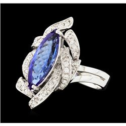 2.29 ctw Tanzanite and Diamond Ring - 14KT White Gold