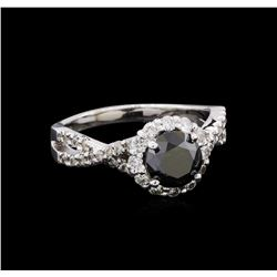 2.10 ctw Black and Diamond Ring - 14KT White Gold