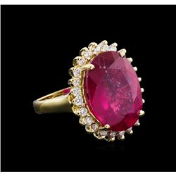 11.25 ctw Ruby and Diamond Ring - 14KT Yellow Gold