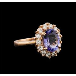 14KT Rose Gold 2.68 ctw Tanzanite and Diamond Ring