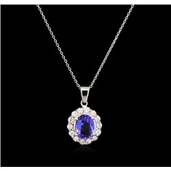 1.75 ctw Tanzanite and Diamond Pendant With Chain - 14KT White Gold