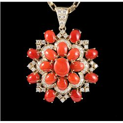 14KT Yellow Gold 19.87 ctw Red Coral & Diamond Pendant with Chain