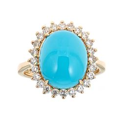 5.18 ctw Turquoise and Diamond Ring - 14KT Yellow Gold
