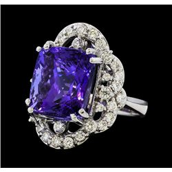16.38 ctw Tanzanite and Diamond Ring - 14KT White Gold