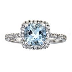 1.40 ctw Aquamarine and Diamond Ring - 14KT White Gold