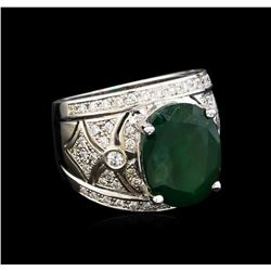14KT White Gold 6.63 ctw Emerald and Diamond Ring