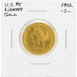 1902-S $5 Liberty Head Half Eagle Gold Coin