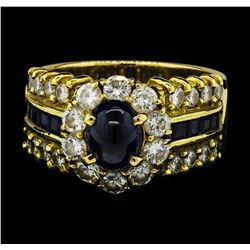 2.16 ctw Sapphire and Diamond Ring - 14-18KT Yellow Gold