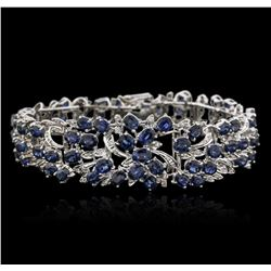 14KT White Gold 35.00 ctw Sapphire and Diamond Bracelet