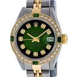 Rolex Ladies 2T Green Vignette Emerald And Diamond Datejust Wristwatch