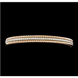 0.95 ctw Diamond Bangle Bracelet - 14KT Rose and White Gold