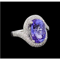 6.47 ctw Tanzanite and Diamond Ring - 14KT White Gold