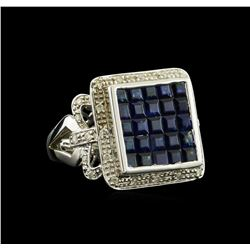 3.00 ctw Blue Sapphire and Diamond Ring - 14KT White Gold