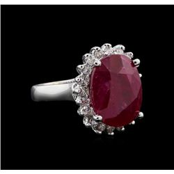 GIA Cert 9.76 ctw Ruby and Diamond Ring - 14KT White Gold