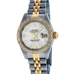 Rolex Ladies Two Tone Silver VS Diamond Datejust Wristwatch