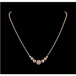 1.40 ctw Diamond Necklace - 14KT Rose Gold