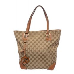 Gucci Beige Brown Monogram Leather Shoulder Bag