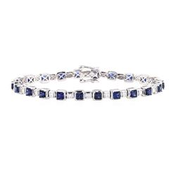 8.12 ctw Sapphire And Diamond Bracelet - 14KT White Gold