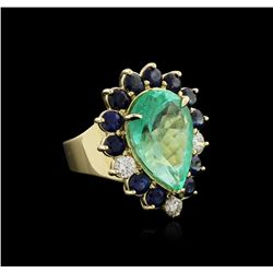 14KT Yellow Gold GIA Certified 15.98 ctw Emerald, Sapphire and Diamond Ring