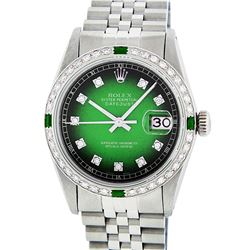 Rolex Mens Stainless Steel Green Vignette Diamond And Emerald Datejust Wristwatc