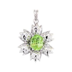 2.27 ctw Paraiba Tourmaline And Diamond Pendant - 14KT White Gold