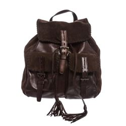 Prada Brown Suede Leather Drawstring Backpack