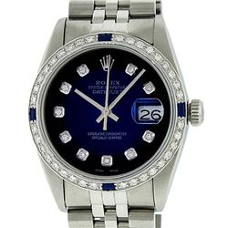 Gents Rolex Stainless Steel Blue Vignette Diamond and Sapphire DateJust Wristwat