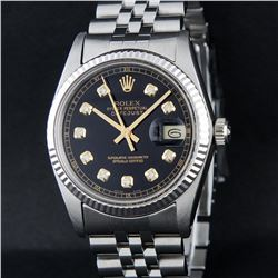Rolex Stainless Steel Black Diamond DateJust Men's Watch