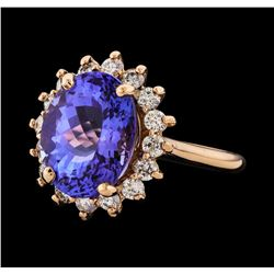 7.19 ctw Tanzanite and Diamond Ring - 14KT Rose Gold