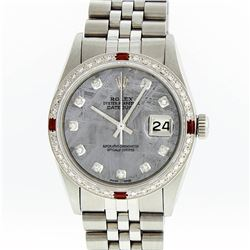 Rolex Mens Stainless Steel Meteorite Diamond Ruby Datejust Wristwatch