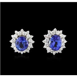 14KT White Gold 5.82 ctw Tanzanite and Diamond Earrings