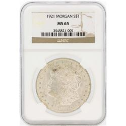 1921 $1 Morgan Silver Dollar Coin NGC MS65
