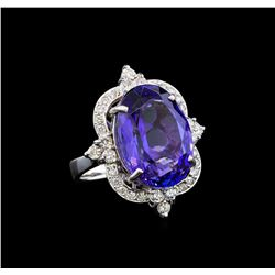 GIA Cert 16.34 ctw Tanzanite and Diamond Ring - 14KT White Gold