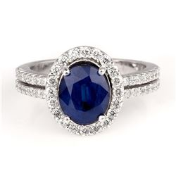 2.75 ctw Blue Sapphire and Diamond Ring - 14KT White Gold