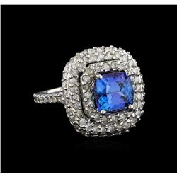 14KT White Gold 3.08 ctw Tanzanite and Diamond Ring
