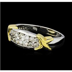 0.62 ctw Diamond Ring - 14KT White Gold with Yellow Gold Plating