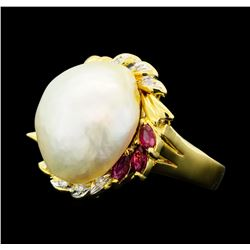 0.30 ctw Ruby, Pearl and Diamond Ring - 18KT Yellow Gold