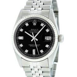 Mens Rolex Stainless Steel Black Diamond And White Gold Beadset Datejust Wristwa